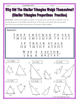 Similar Triangles Proportions Practice Riddle Worksheet Tpt