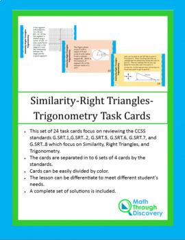 Similar Triangles-Right Triangles-Trigonometry Task Cards