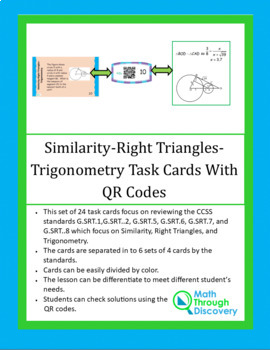 Similar Triangles-Right Triangles-Trigonometry Task Cards with QR Codes