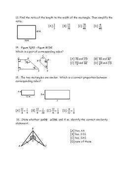 Geometry: Similarity Quiz