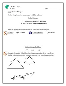 Geometry - Simlar Triangles, Postulates, Solving