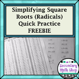 Right Triangles - Simplifying Square Roots Chart and Worksheet Freebie!