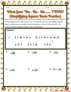 Simplifying Square Roots Halloween Riddle Worksheet