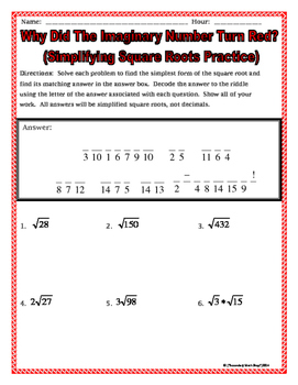 Right Triangles Geometry Simplifying Square Roots Riddle Worksheet