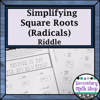 Right Triangles - Geometry Simplifying Square Roots Riddle