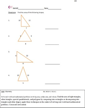Geometry - Sixth Grade Common Core Math Worksheets - All S