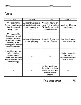Geometry Sketch Activity! Draw and Label - with Rubric!