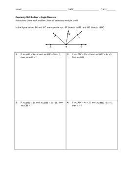 Geometry Skill Builder - Angle Measure