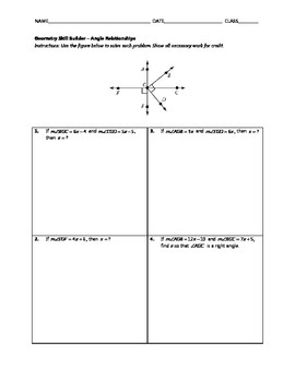 Geometry Skill Builder - Angle Relationships