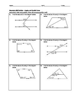 Geometry Skill Builder - Angles and Parallel Lines