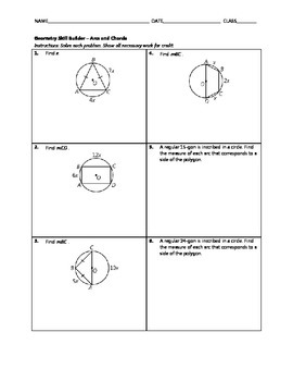 Geometry Skill Builder - Arcs and Chords of Circles
