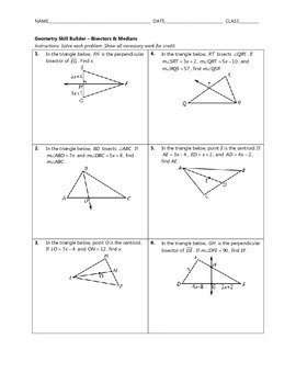 Geometry Skill Builder - Bisectors and Medians