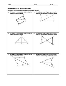 Geometry Skill Builder - Congruent Triangles