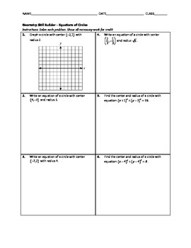 Geometry Skill Builder - Equations of Circles