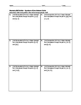 Geometry Skill Builder - Equations of Lines Between Points