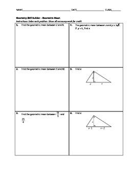 Geometry Skill Builder - Geometric Mean