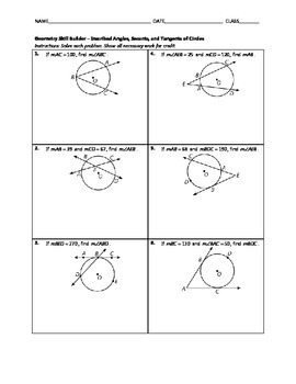 Geometry Skill Builder - Inscribed Angles, Secants, and Tangents of Circles