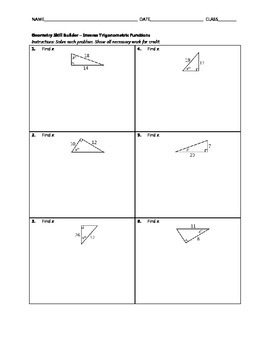 Geometry Skill Builder - Inverse Trigonometric Functions