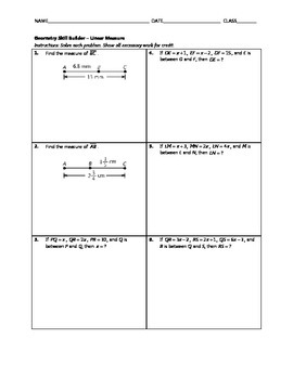 Geometry Skill Builder - Linear Measure