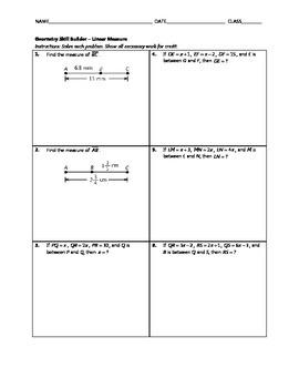 Geometry Skill Builder - Linear Measure