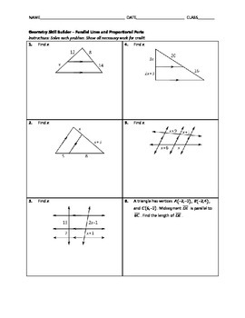 Geometry Skill Builder - Parallel Lines and Proportional Parts