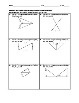 Geometry Skill Builder - SAS, SSS, ASA, and AAS Triangle Congruence