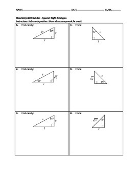 Geometry Skill Builder - Special Right Triangles