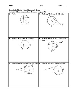 Geometry Skill Builder - Special Segments in Circles