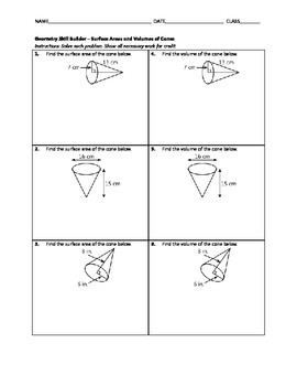 Geometry Skill Builder - Surface Areas and Volumes of Cones