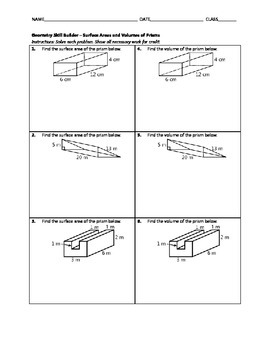 Geometry Skill Builder - Surface Areas and Volumes of Prisms