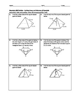 Geometry Skill Builder - Surface Areas and Volumes of Pyramids