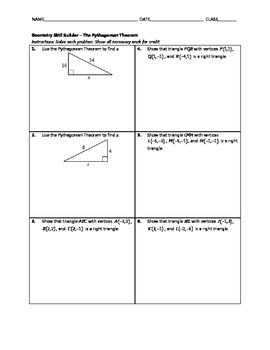 Geometry Skill Builder - The Pythagorean Theorem