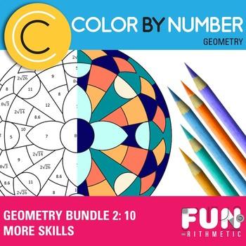 Geometry Skills Color By Number Bundle 2: 10 More Skills