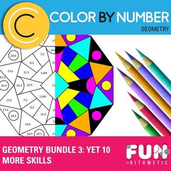 Geometry Skills Color By Number Bundle 3: ...More Skills
