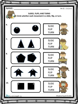 Geometry: Slides, Flips, and Turns (Translations, Reflections, Rotations)