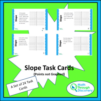 Geometry:  Slope Task Cards without Graphed Points