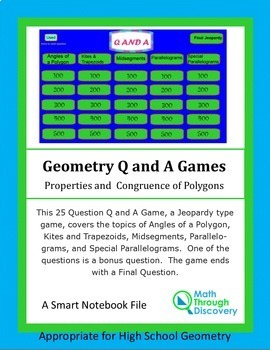 Geometry: Smartboard Q and A Game - Properties and Congruence of Polygons