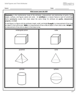 Geometry: Solid Figures & Their Attributes pgs.1-4 (CCSS)