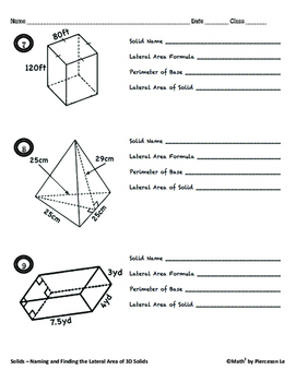 Solids - Naming and Finding Surface Areas and Volume of Solids Bundle