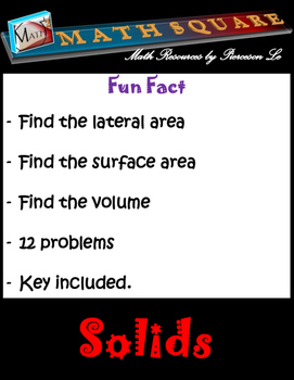 Solids - Finding the Surface Area and Volume of Solids Riddle