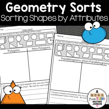Geometry Sorts: quadrilaterals, polygons, 2D vs 3D, Parallelograms