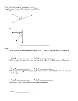 Geometry - Special Angle Pairs Worksheets (Lots of Proofs!) by Acris ...