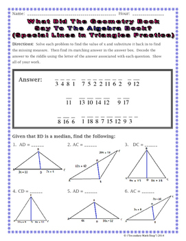 Triangles special lines in triangles riddle worksheet by - Kuta software exterior angle theorem ...