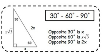 Geometry Special Right Triangle Stickers
