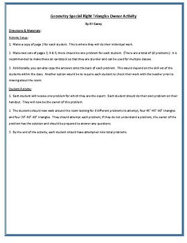 Geometry Special Right Triangles Owners Activity