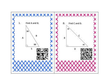 Geometry Special Right Triangles Task Cards with QR Codes