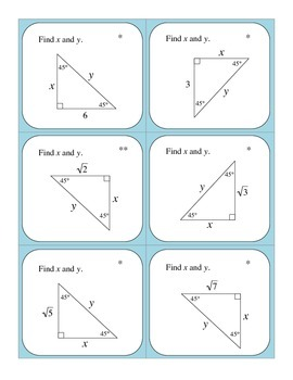 Geometry: Special Triangles 45°- 45°- 90° and 30°- 60°- 90° Flashcards