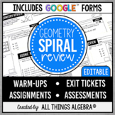 Geometry Spiral EOC Review Assignments | Assessments | Goo