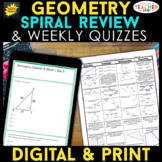 Geometry Spiral Review & Quizzes | DIGITAL & PRINT