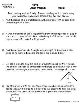 Geometry Standards Based Assessments & Item Analysis